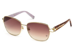 Montblanc MB414S Sunglasses - Shiny Rose Gold Frame Color, Gradient Brown Lens Color