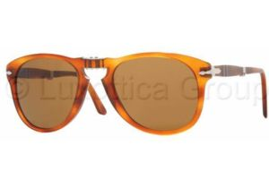 Persol PO0714 Single Vision Prescription Sunglasses PO0714-96-33-5221 - Lens Diameter: 52 mm, Frame Color: Light Havana