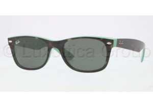 Ray-Ban New Wayfarer RB2132 Sunglasses with No-Line Progressive Rx Prescription Lenses RB2132-6013-5218 - Lens Diameter 52 mm, Frame Color Top Havana / Green