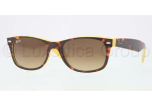 Ray-Ban New Wayfarer Sunglasses RB2132 601485-5218 - Top Havana on Yellow Frame, Brown Gradient Lenses