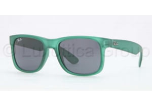 Ray-Ban JUSTIN RB4165 Progressive Prescription Sunglasses RB4165-897-87-5116 - Lens Diameter 51 mm, Frame Color Transparent Green Rubber