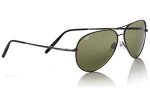 Serengeti Aviator Sunglass - Medium, Shiny Gunmetal Frame, 555nm Polarized Lenses 7190