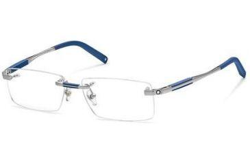 Montblanc MB0349 Eyeglass Frames - Shiny Light Ruthenium Frame Color