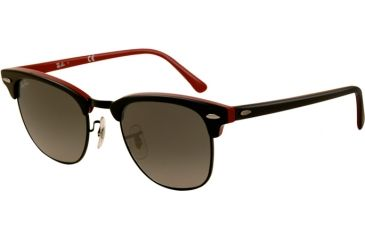 Ray-Ban Clubmaster Sunglasses RB3016 110371-4921 - Top Black On Red Frame, Gray Gradient Lenses