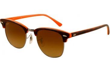 Ray-Ban Clubmaster Sunglasses RB3016 112685-4921 - Top Dark Havana on Orange Frame, Brown Gradient Lenses