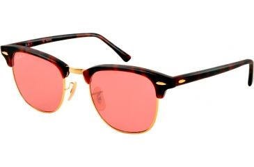 Ray-Ban Clubmaster Sunglasses RB3016 114515-51 - Matte Red Havana Frame, polar dark pink Lenses