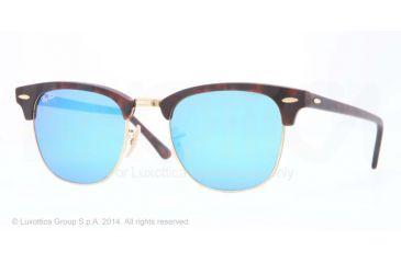 Ray-Ban Clubmaster Sunglasses RB3016 114517-51 - Sand Havana/gold Frame, Grey Mirror Blue Lenses