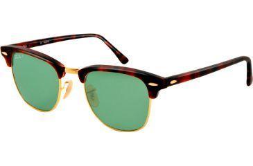 Ray-Ban Clubmaster Sunglasses RB3016 1145O5-51 - Matte Red Havana Frame, polar green Lenses