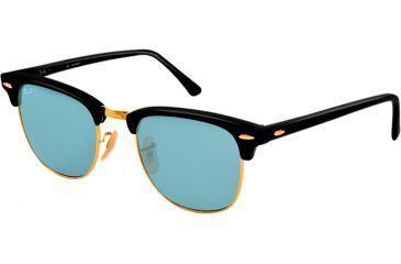 Ray-Ban Clubmaster Sunglasses RB3016 901S3R-51 - Matte Black Frame, polar sky blue Lenses
