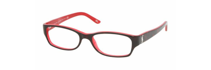 Ralph Lauren RL 6058 Eyeglasses w/ Top Havana/Red Frame and Non-Rx 51 mm Diameter Lenses, 5255-5116