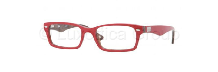 Ray-Ban Eyeglasses RX5206 with Rx Prescription Lenses 5130-5218 - Top Red on Variegated Frame, Demo Lens Lenses