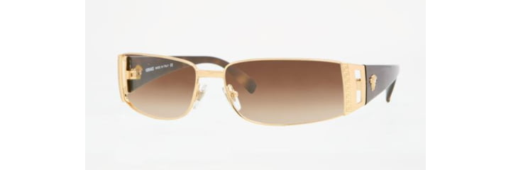 Versace VE 2021 Sunglasses Styles Gold Frame / Brown Gradient Lenses, 100213-6015